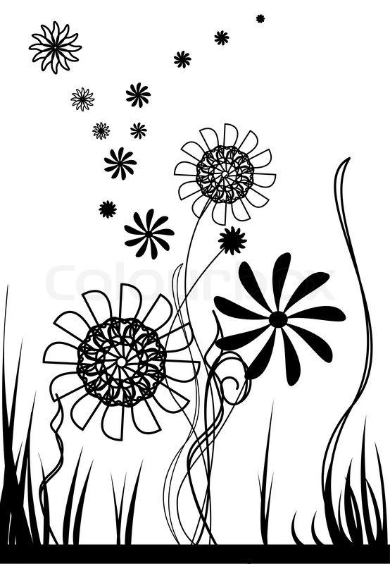 Vektor Blumen schwarz und wei  Vektorgrafik  Colourbox