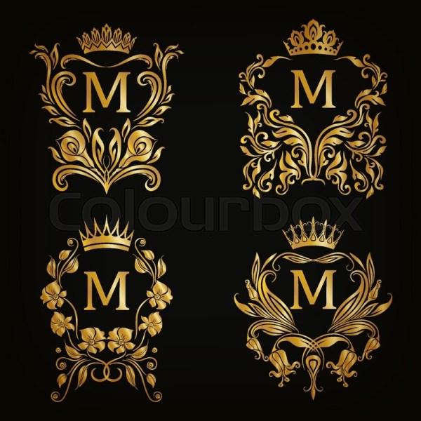 Set Of Gold Monogram Graphic Design Black