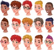 set of boys with hairstyles
