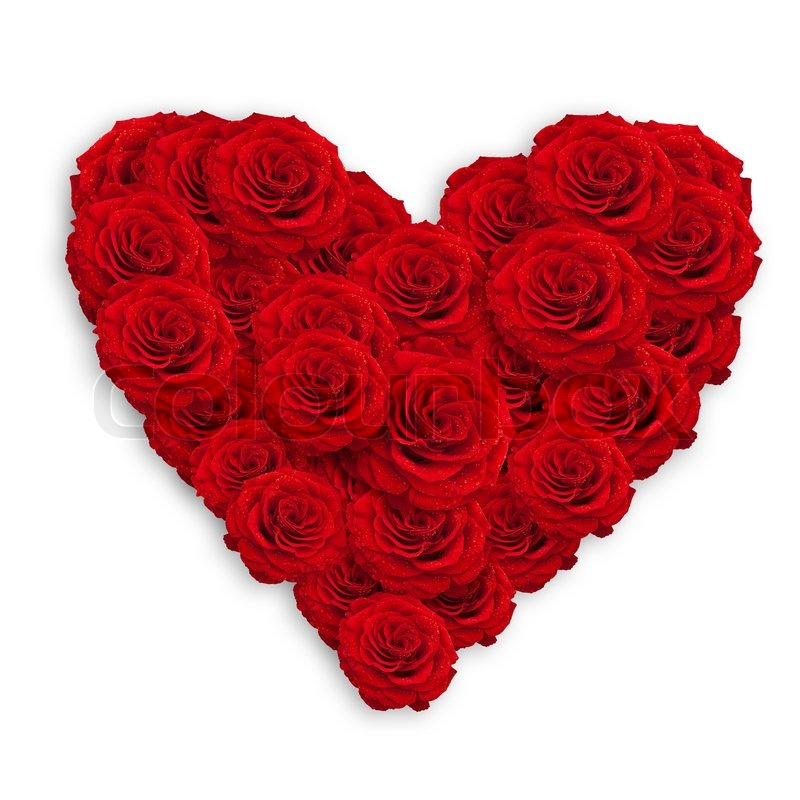 Fresh Red Roses In Heart Shape Over Stock Photo