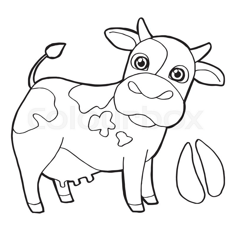 Image of Cattle with paw print Coloring Page vector
