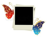 Photo frame design with butterfly decoration   Stock ...