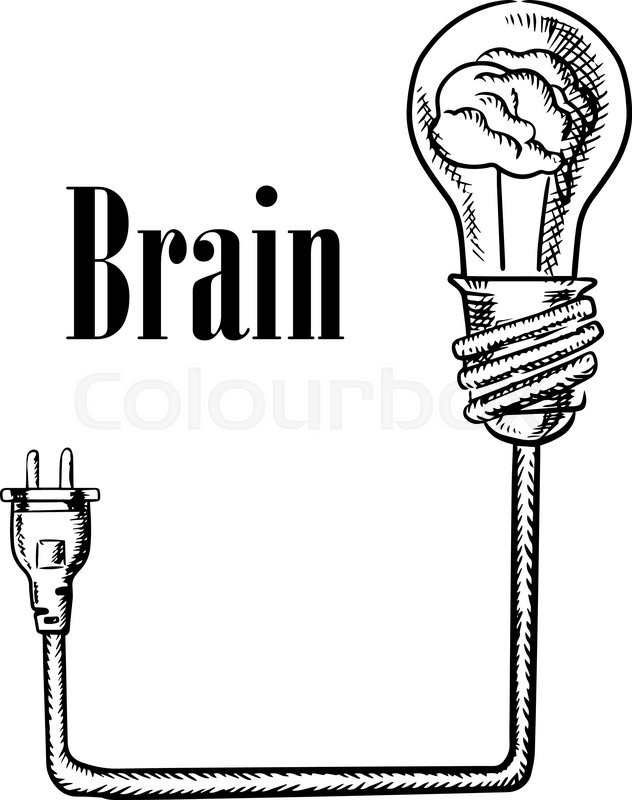 Light bulb with human brain inside, connected to