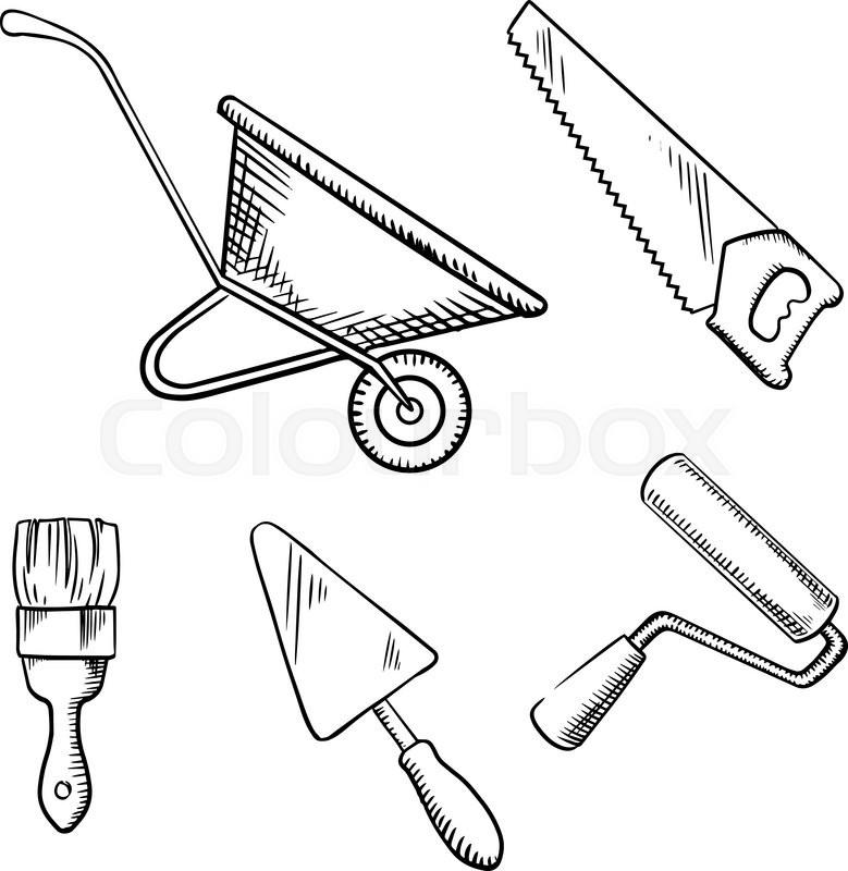 Hand saw, trowel, wheelbarrow, paint brush and roller