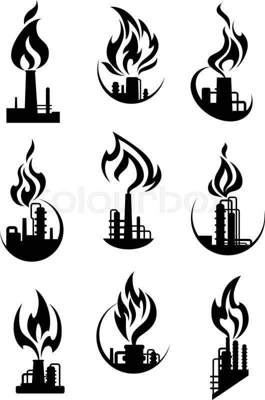 Industrial chemical plant and factory icons with black