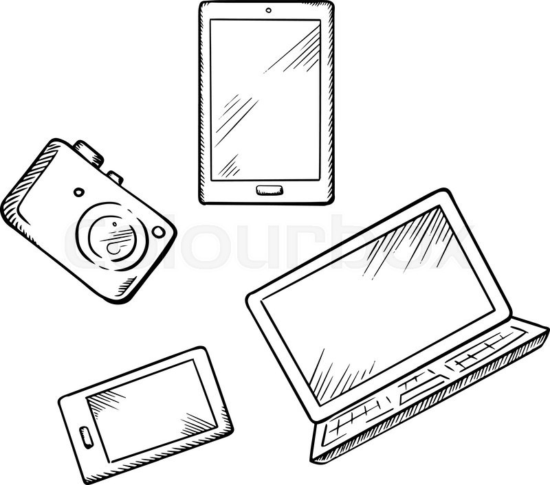 Sketch of modern smartphone, tablet pc, laptop and digital