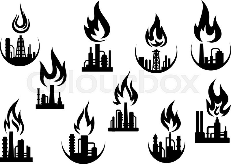 Petroleum refinery and chemical industrial plant icons set
