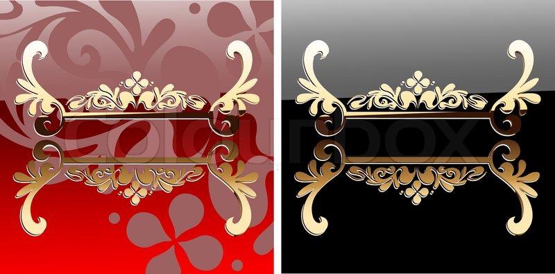 Dekorative Glow Ornate Red And Black Banner   Vektorgrafik  Colourbox