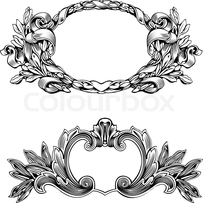 Antique Frame Engraving, Scalable And Editable Vector