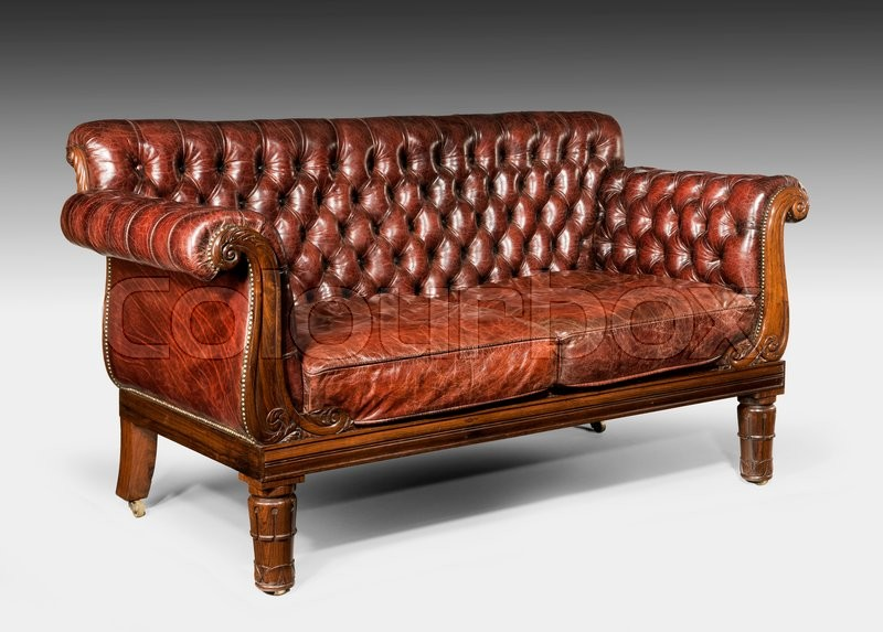 brown leather studded sofa high end sofas manufacturers antique old vintage cushioned couch stock photo colourbox