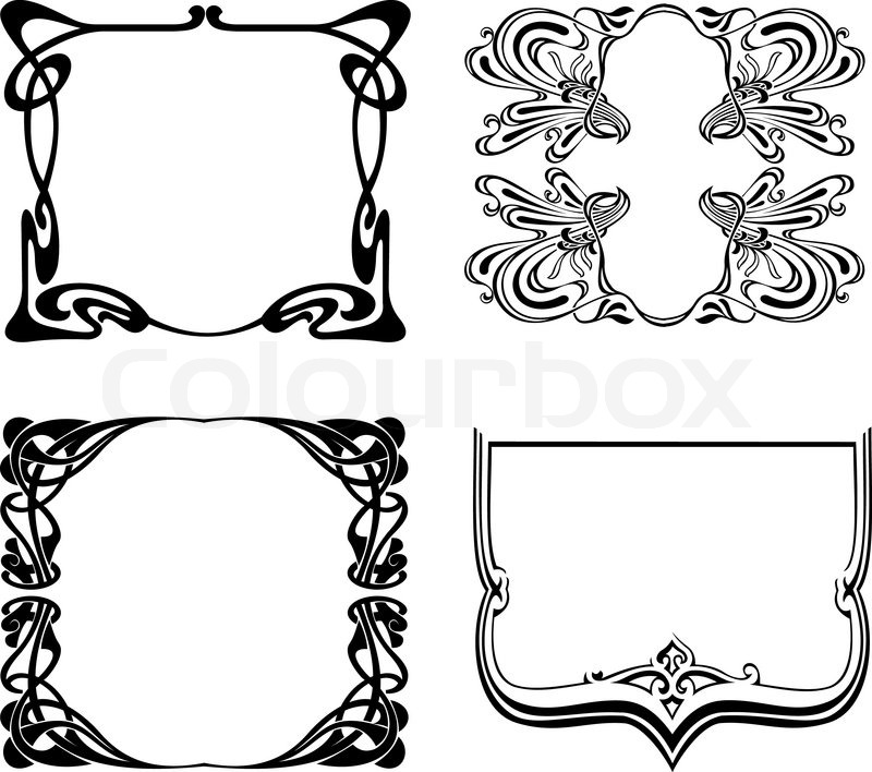 Four Black And White Art Deco Frames. Vector Illustration