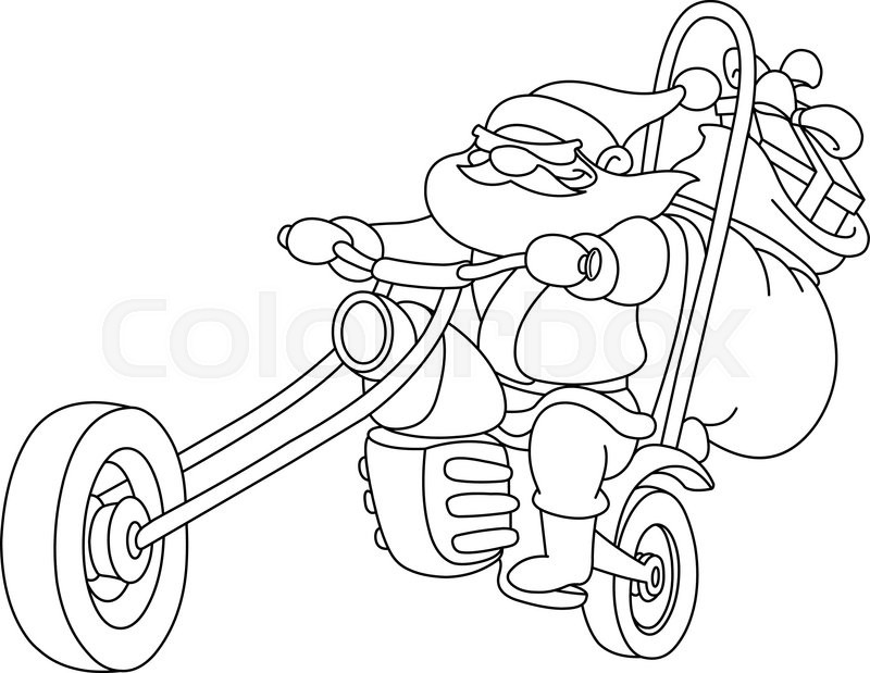 Outlined Santa on a motorcycle. Vector, illustration