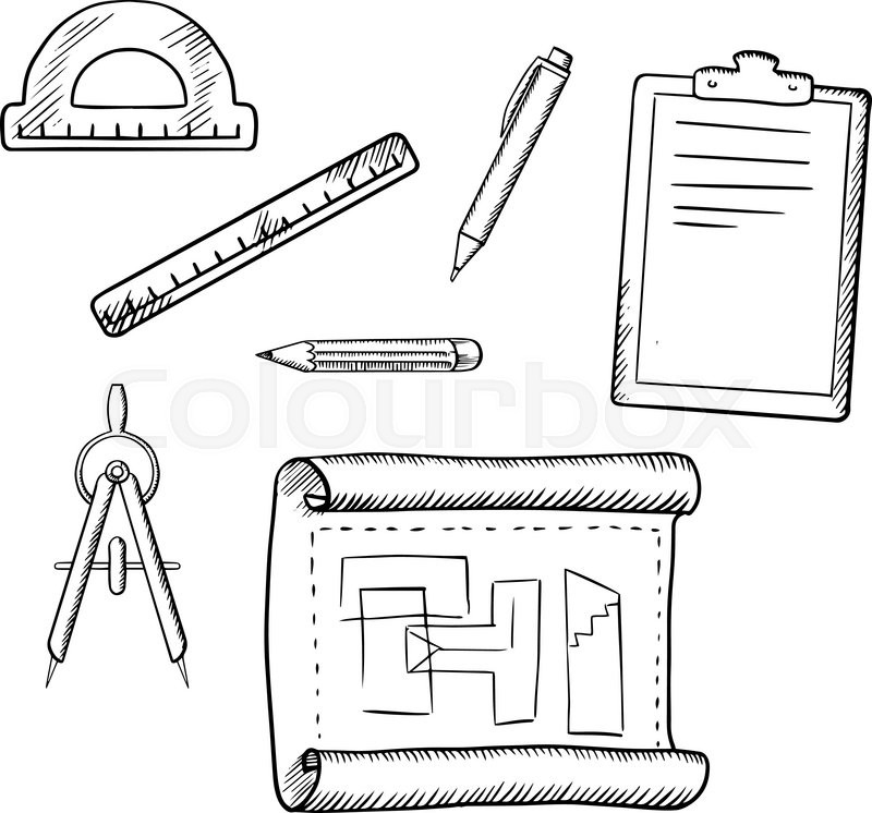 Architect drawing, compasses, pencil, pen, ruler, half