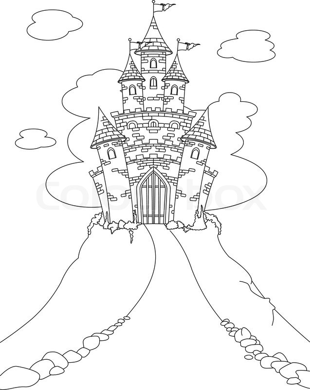 Coloring page with Magic Fairy Tale Princess Castle