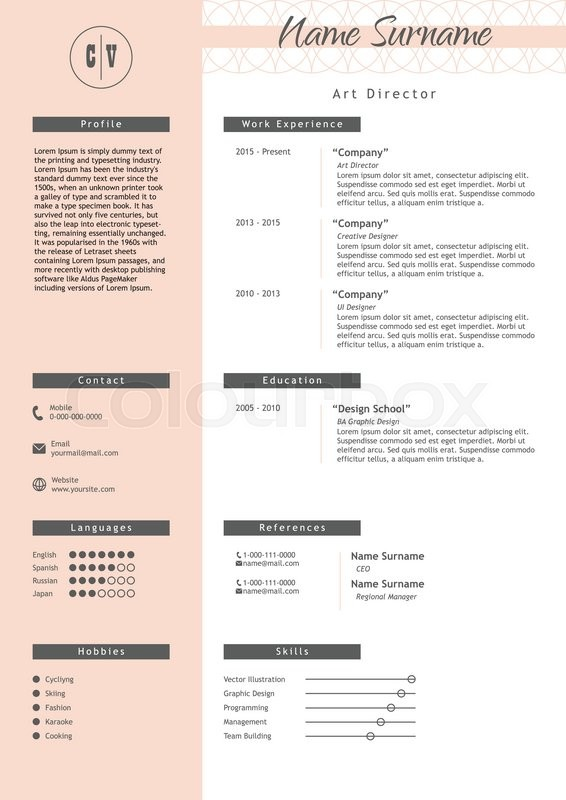 Vector creative resume template   Stock Vector  Colourbox