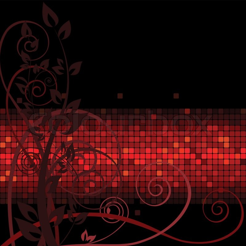 Dark Background With Brown Twigs On The Red Band Stock