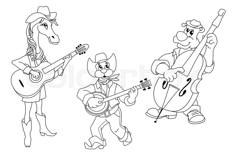 Cute animal music band. Cartoon outline illustration of