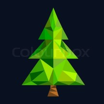 Christmas Tree Flat 3d Lowpoly Pixel Art Icon