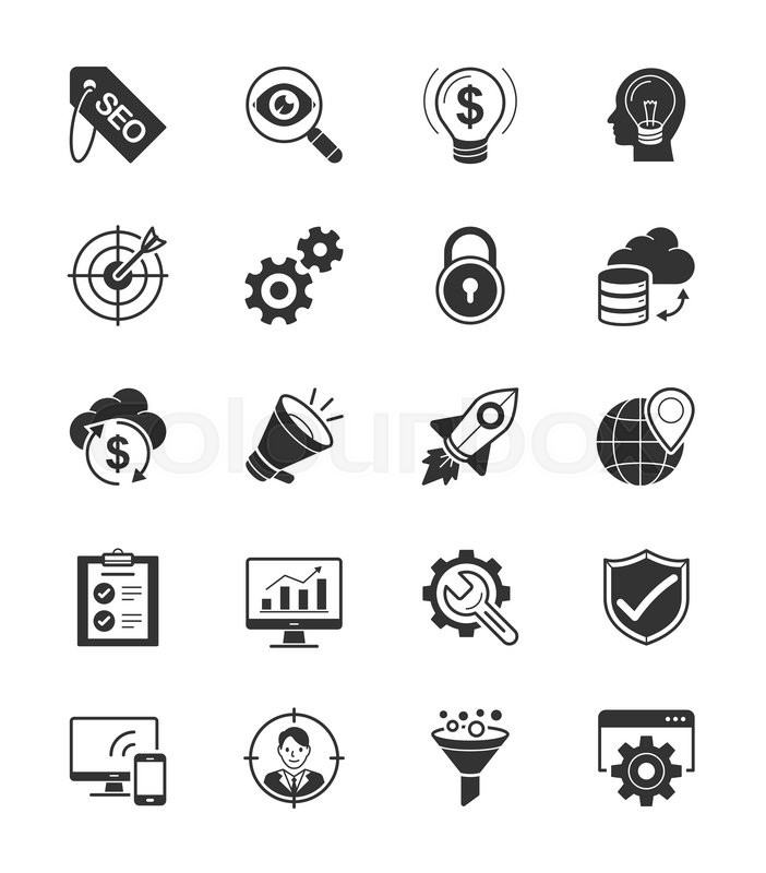 SEO & Internet icons set 1 on White Background\\ An