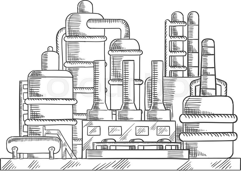 Oil refinery factory sketched illustration with modern