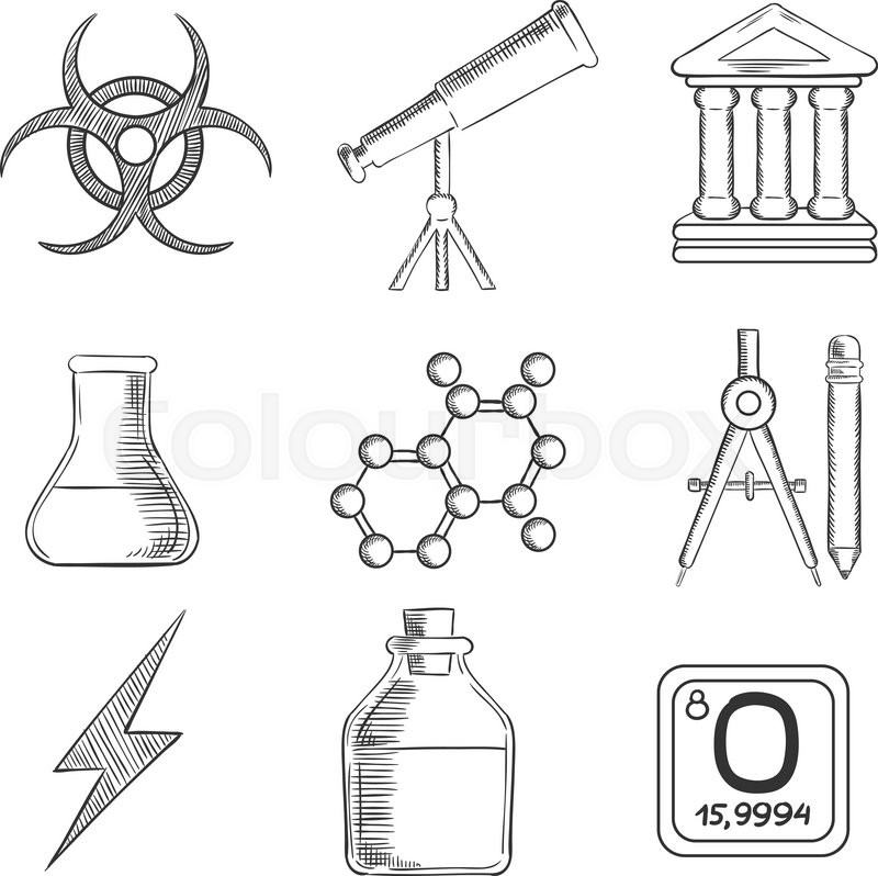 Science and chemistry sketches icons and symbols with