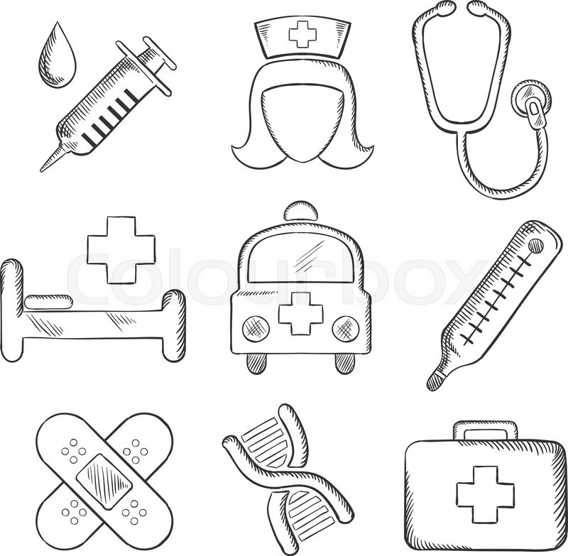 Sketched medical and healthcare icons with a syringe