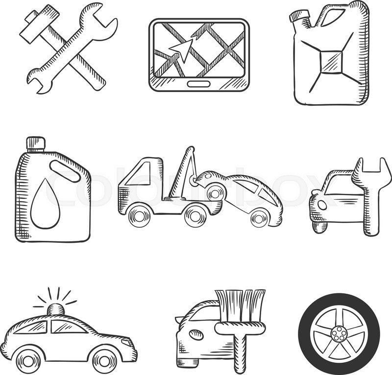 Car service sketch icons including tools, road sign, oil