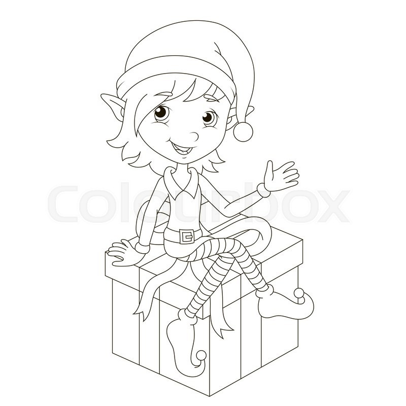 Cute Christmas elf sitting on gift. Vector coloring page