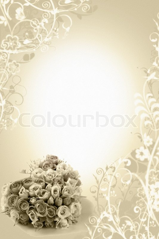 Beige wedding background with roses bouqete  Stock Photo