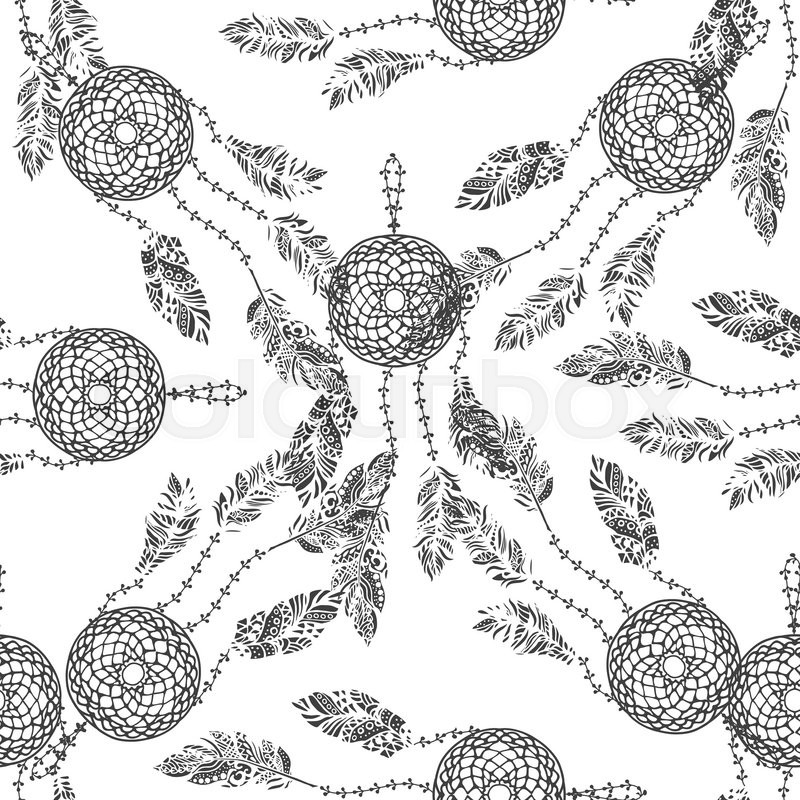 Hand drawn vector doodle black dream catcher with feathers