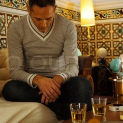 Scotch And Sofa Leather Couch Sleeper Depressed Man Sitting With Alcohol On Table | Stock Photo ...