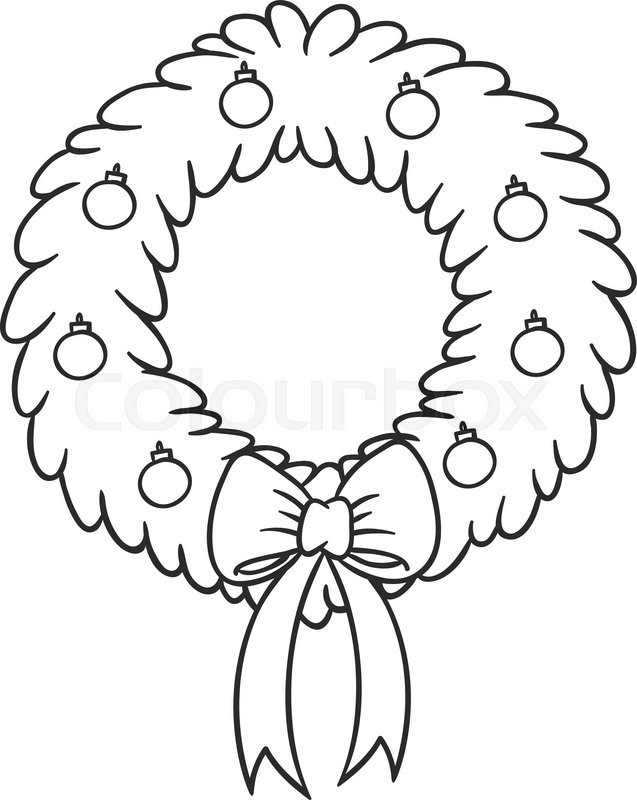 Christmas wreath with red ribbon and balls. Christmas