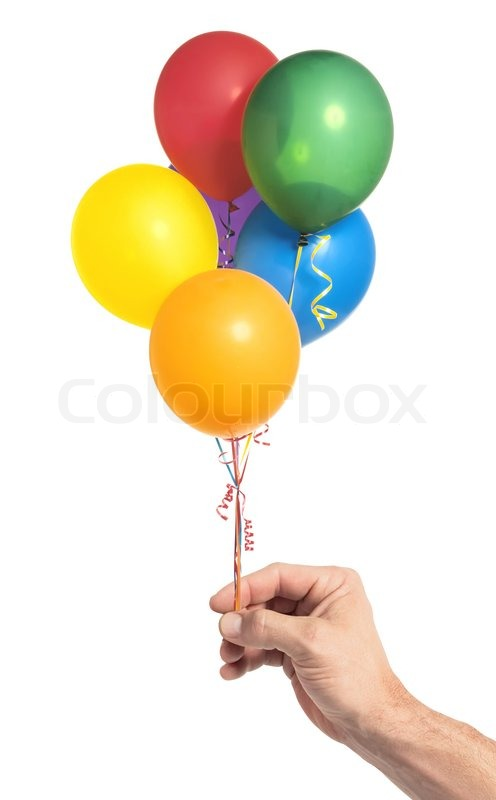 Hand Holding Colorful Helium Balloons Isolated On White