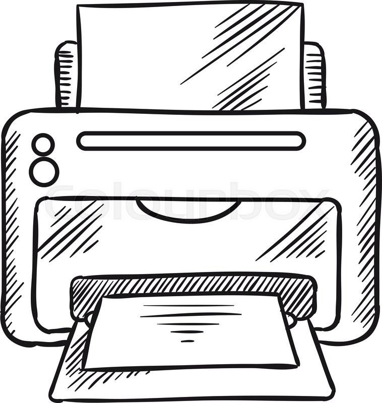 Desktop inkjet printer with paper. Office equipment