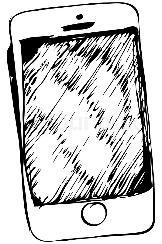 Black and white vector sketch of touchscreen mobile phone