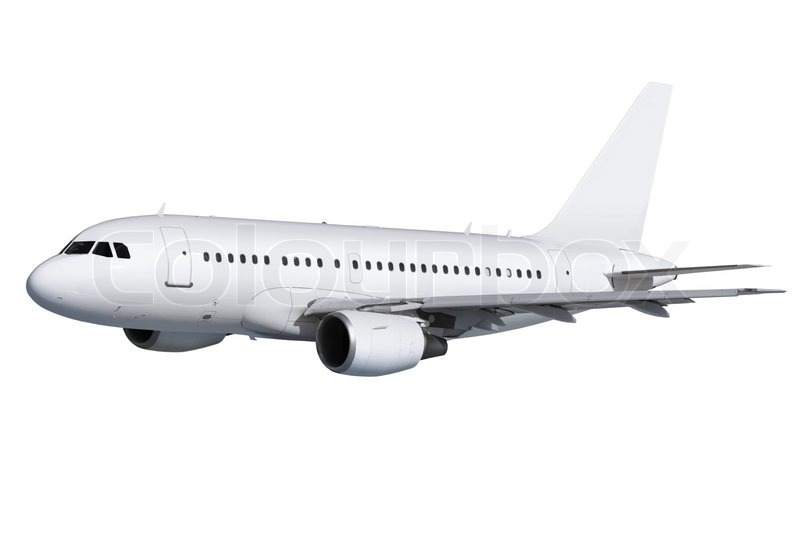 commercial airplane on white