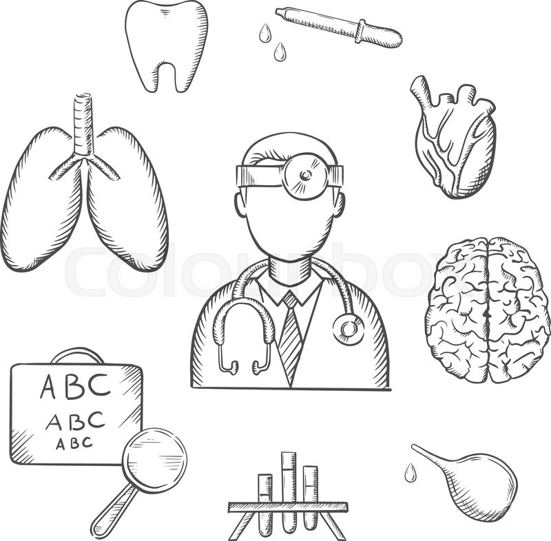 Medical sketch icons with doctor encircled by an eye chart