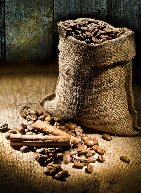 Sack of coffee beans on a background of   Stock Photo