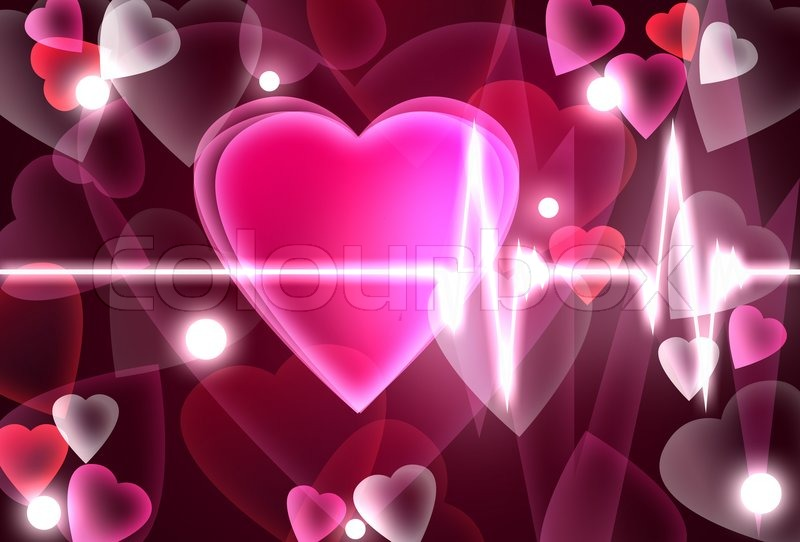 Valentines Day Theme With Heart Beating Stock Photo