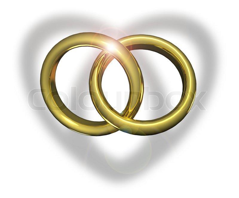 Goldene Hochzeit Ringe miteinander   Stock Bild