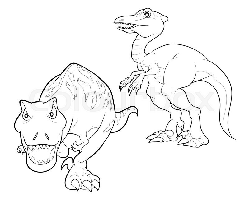 Velociraptor and tyrannosaurus cartoon lineart coloring