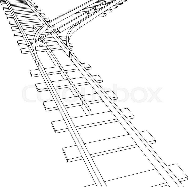 Vector 2d 3d railway, railroad track sketch. On white 7