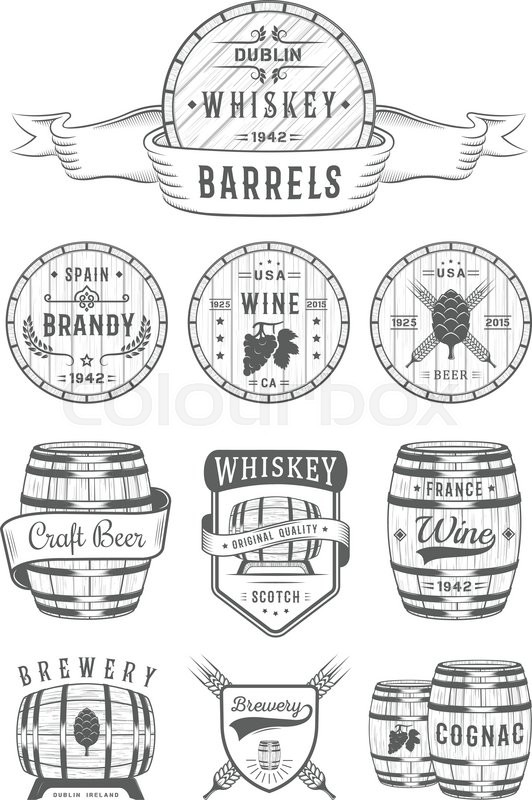 Set of wooden casks with alcohol drinks emblems and labels