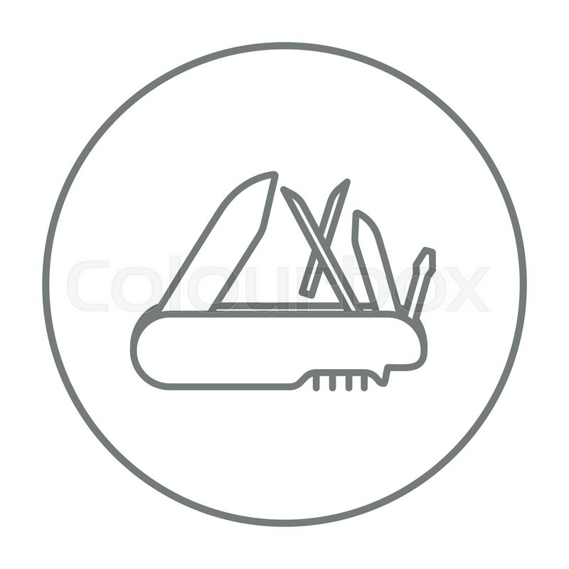 Multipurpose knife line icon for web, mobile and