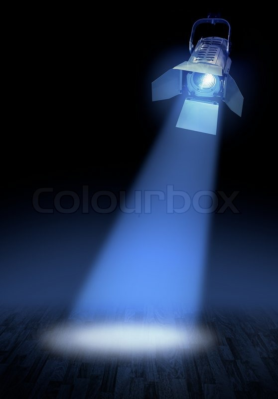 Dark blue theatre stage with spotlights beam  Stock Photo