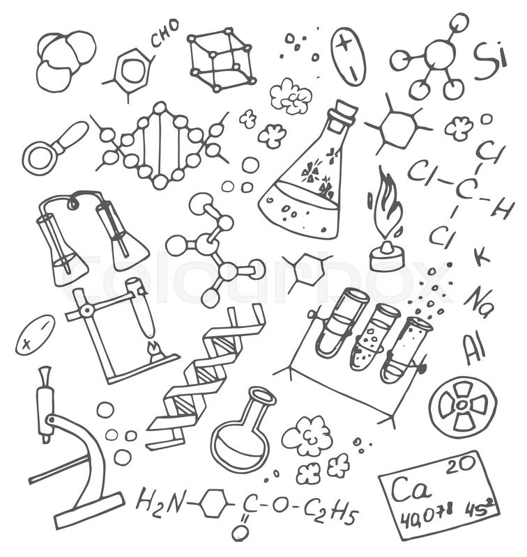 Hand Drawn Doodle vektor chemistry. Science background