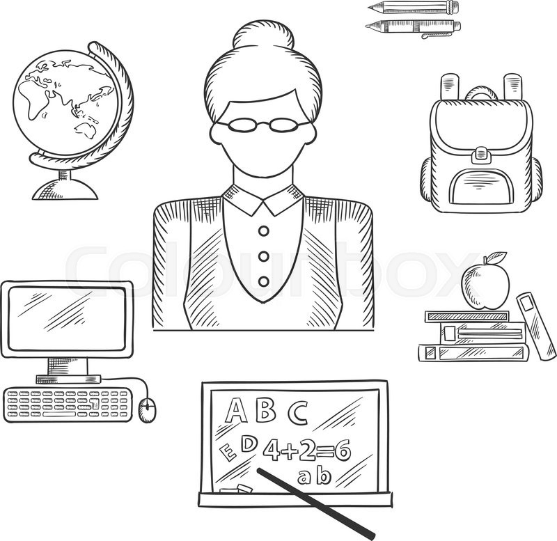 Teacher profession sketched icons with woman in glasses