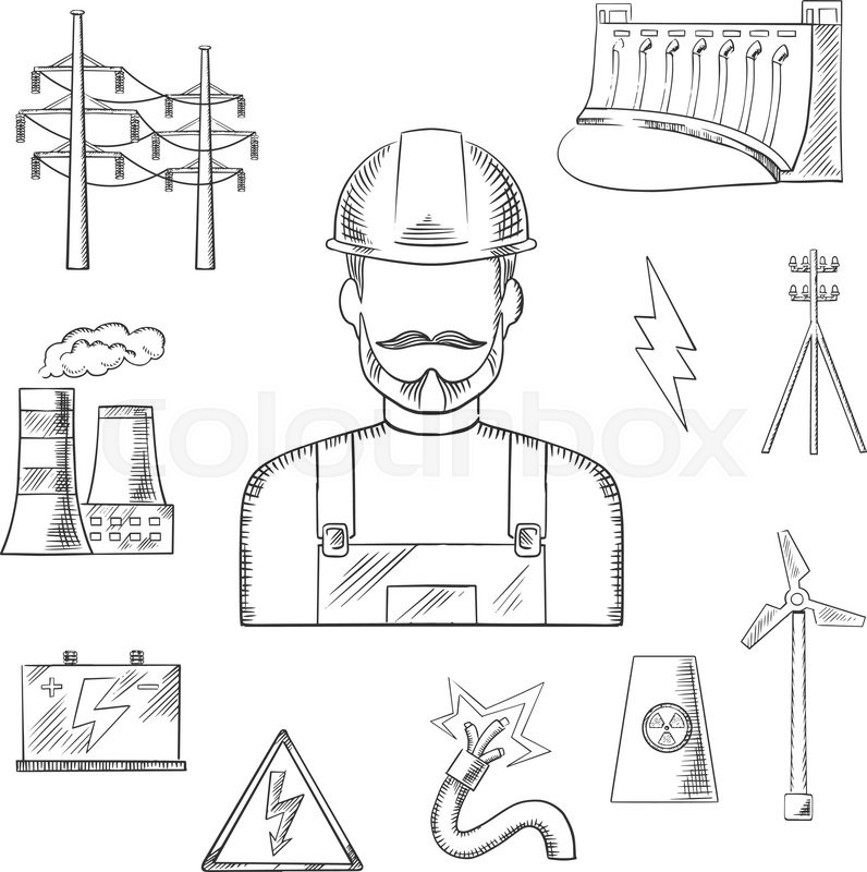 Electricity and power industry icons sketches with