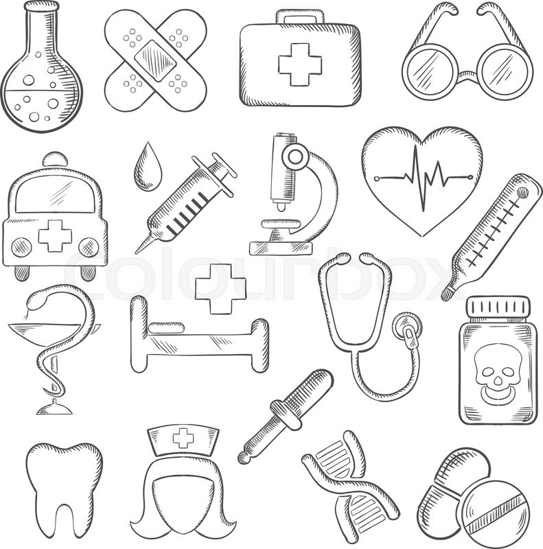 Medical and healthcare icons sketches with hospital and