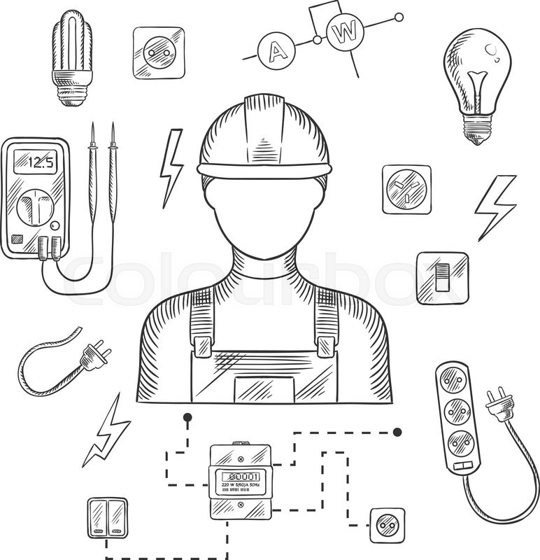 Electrician man in hard hat with electrical household